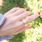 Bague Moonlight Or - Marbre Blanc - Bijoux Majolie