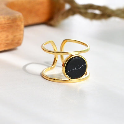 Bague Moonlight Or - Marbre Noir - Bijoux Majolie