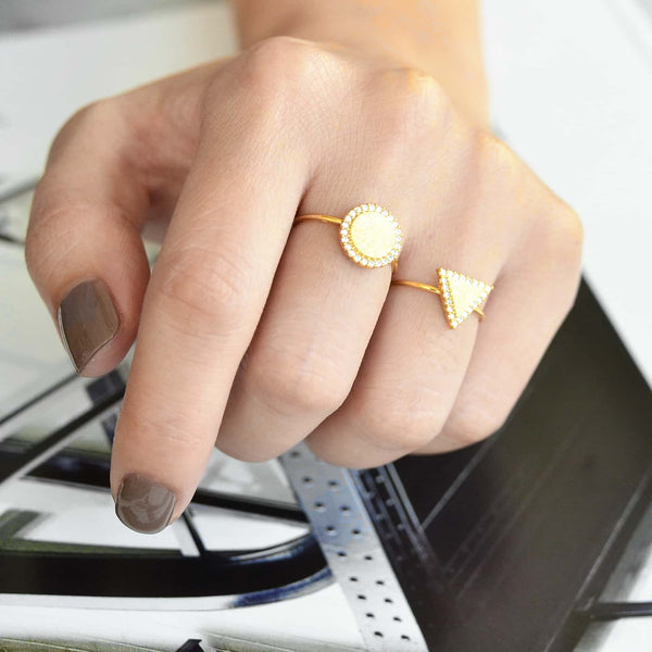 Ronde Diamantée Gold Ring