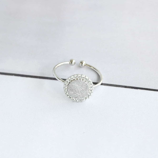 Ronde Diamantée Silver Ring