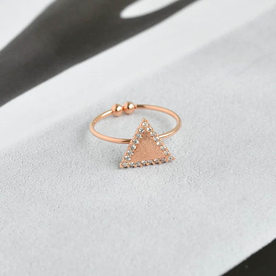 Bague Triangle Diamanté - Or Rose - Bijoux Majolie