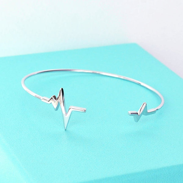 Bangle Heartbeat - Plaqué Rhodium