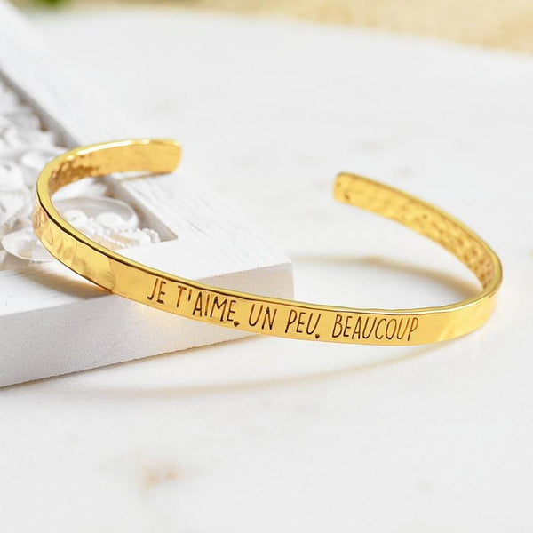 Bangle Je T'aime, Un Peu... - Plaqué Or 18K