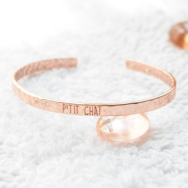 Bangle P'tit Chat - Plaqué Or Rose 18K