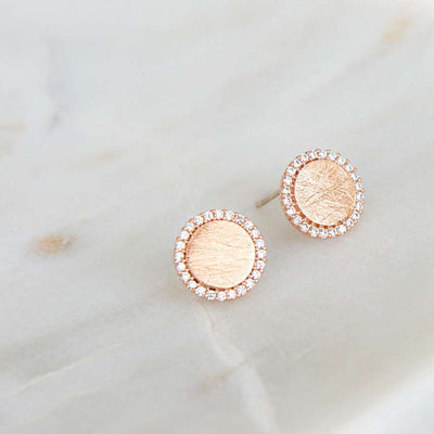 Boucles Cercle Diamanté - Or Rose