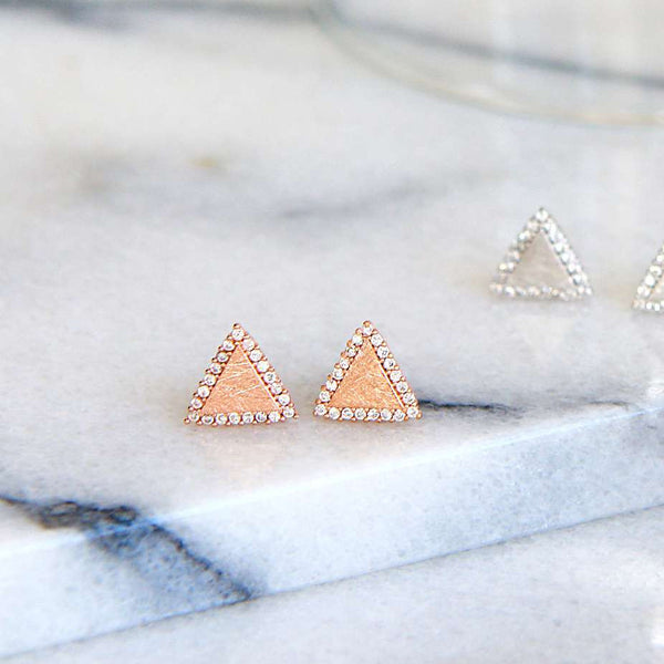 Boucles Triangles Diamantés - Or Rose