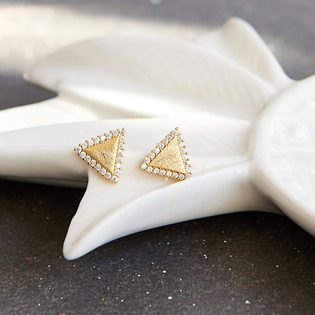 Boucles Triangles Diamantés - Or