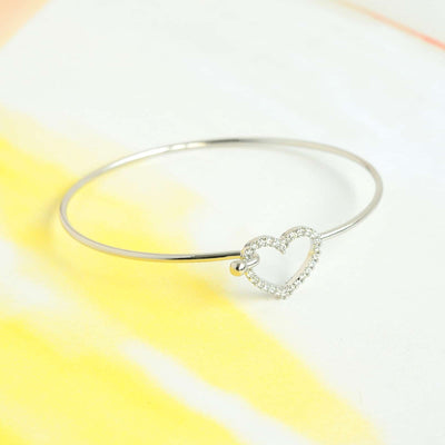 Bangle Coeur Diamanté - Argent