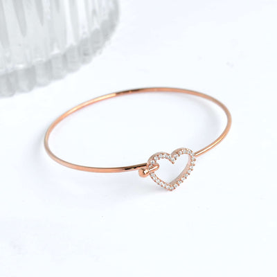 Bangle Coeur Diamanté - Or Rose - Bijoux Majolie