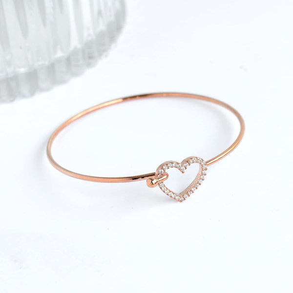 Coeur Diamanté Rose Gold Bangle Bracelet