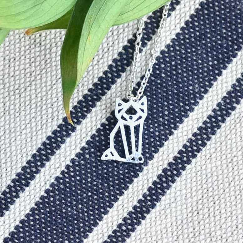 Collier Miaou Origami - Argent