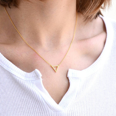Collier Triangle Diamanté - Or
