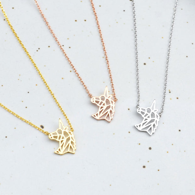 Collier Unicorn Origami - Argent