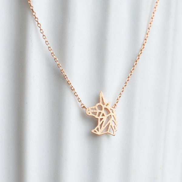 Collier Unicorn Origami - Or Rose