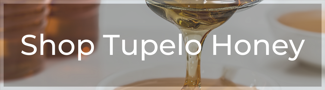 """Call to action Image: """"Shop Tupelo Honey"""" super-imposed on an image of honey"""
