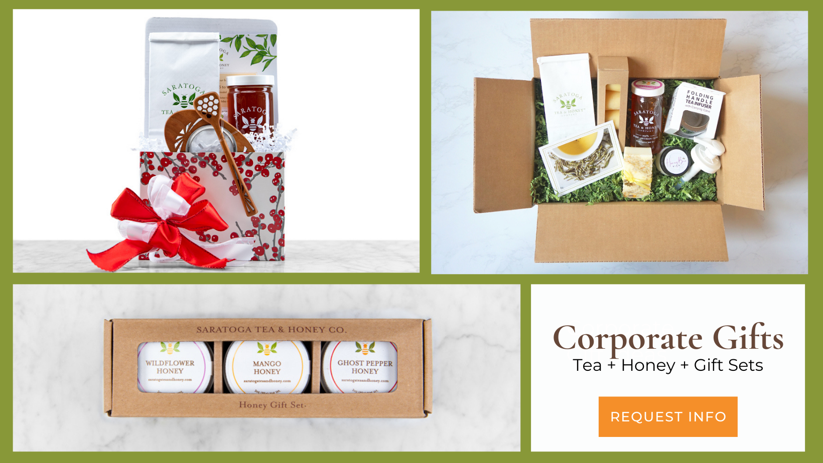 Corporate Gifts Page Banner Showing Collage Featuring Tea and Honey Gift Sets
