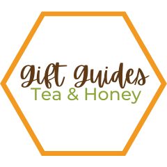 Orange Hexagon Outline With The Words, Gift Guides: Tea and Honey