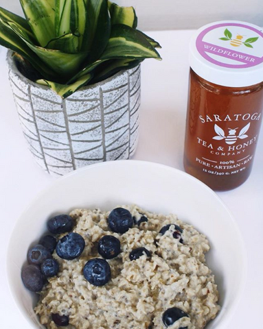 Blueberry Oatmeal with Wildflower Honey