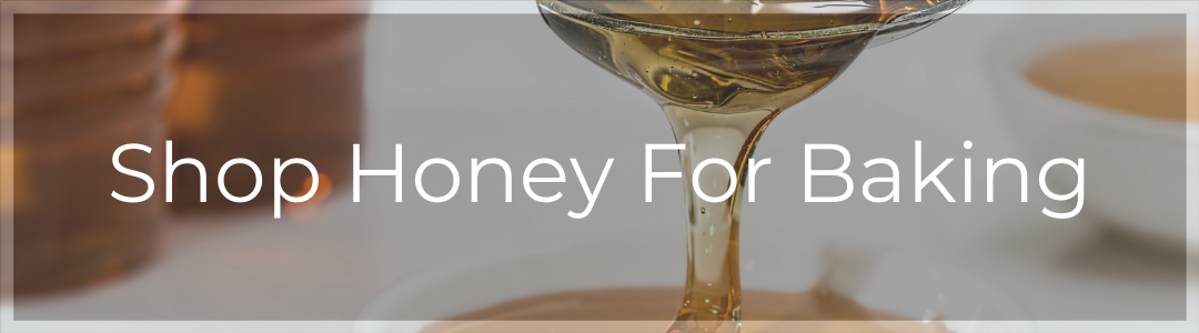 """Click through CTA with """"Shop Honey for Baking"""" Superimposed over image of dripping honey"""