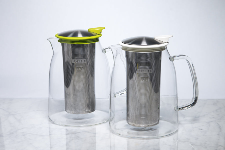 two glass iced tea pitchers with infusers