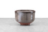 grey and clay matcha bowl with dark gray vertical stripes