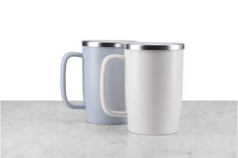 lavender-grey and off-white western-style handled tea mugs with stainless steel tops