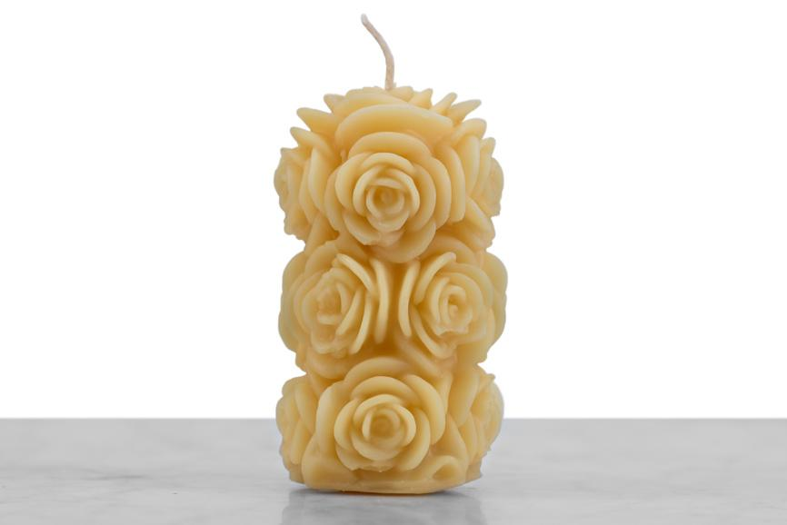 Beeswax Fading Rose Candle