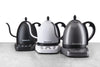 black, white, and grey variable temperature gooseneck electric kettles from bonavita