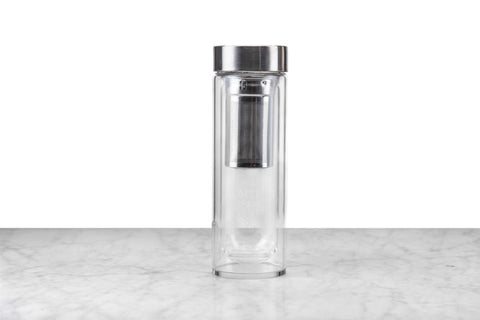glass travel tumbler with tea infuser