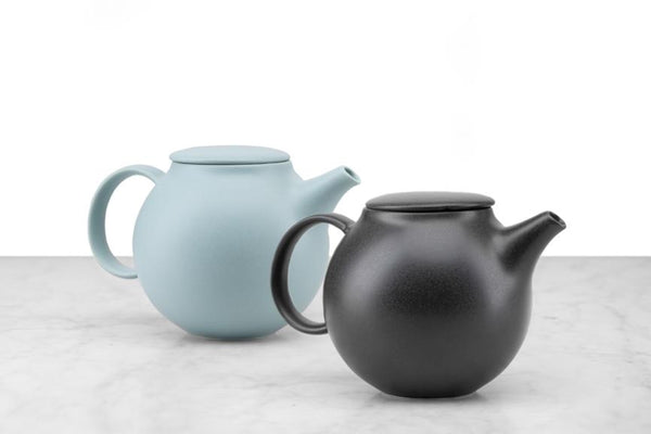mint and black minimalist tea pots