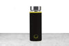 black neoprene protective sleeve with green accents on a glass tea infuser flask