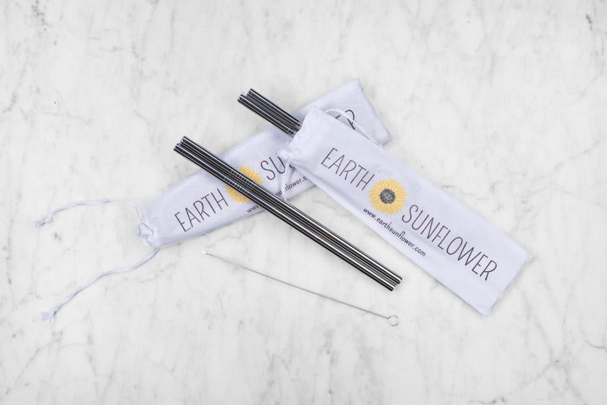 Earth Sunflower Eco-Straws w/Pouch & Cleaner