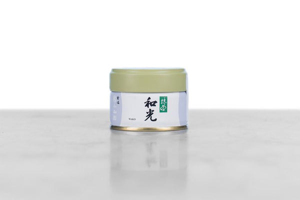 metal 20g tin of thin grade ceremonial matcha powder from Marukyu-Koyamaen