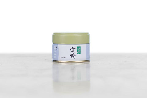 ceremonial grade matcha unkaku in a 20g white, green and grey tin