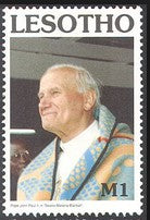 Pope John Paul II wearing basotho blanket