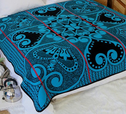 Heart of the King Basotho Blanket  (Turquoise and Black)  -  Blankets and Weaves - 1