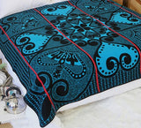 Heart of the King Basotho Blanket  (Turquoise and Black, Yellow stripe)