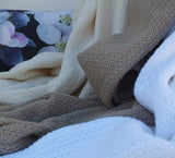 Cotton Cellular Throw Blanket Ivory