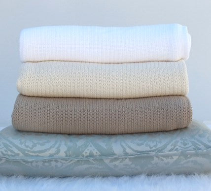 Cotton Cellular Throw Blanket Stone