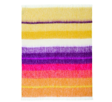 African Bright Stripes Luxury Mohair Blanket