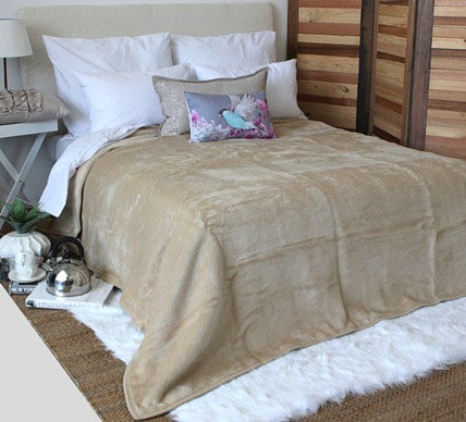 Plain Luxury Blanket Bone  -  Blankets and Weaves - 3