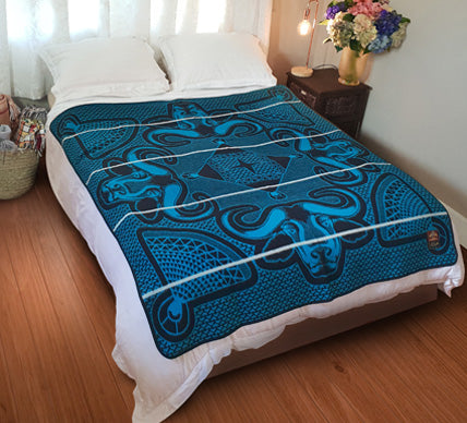 Linare Basotho Blanket (Turquoise and Black, White stripe)