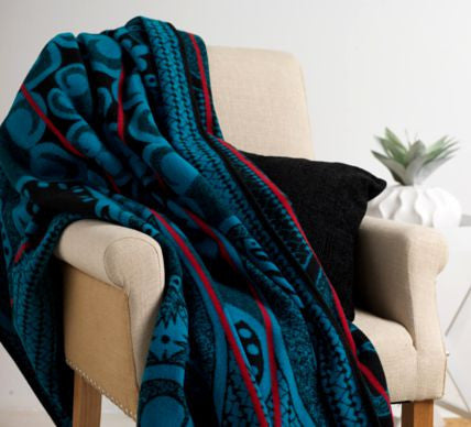 Heart of the King Basotho Blanket  (Turquoise and Black)
