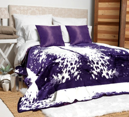 Purple Nguni Luxury Blanket  -  Blankets and Weaves - 1
