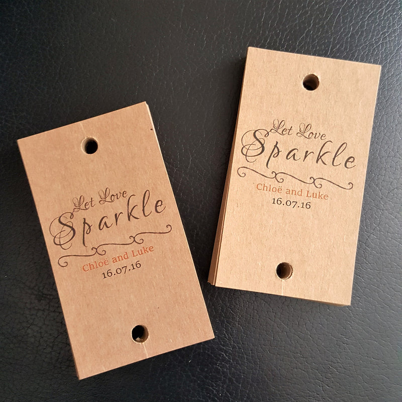 Personalised Sparkler Tags For Chloe & Luke Congrats xx