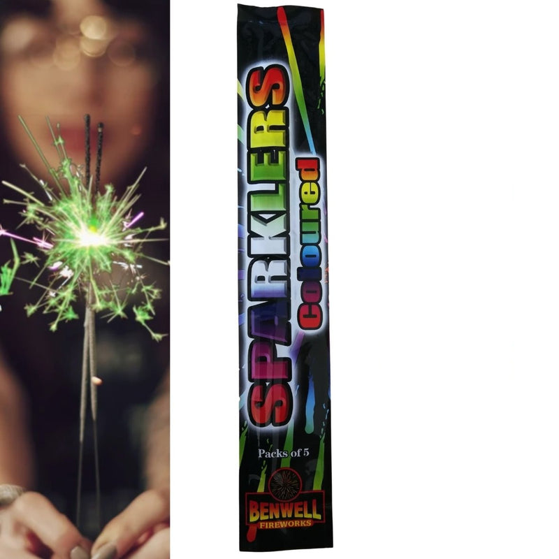 "Pack Of 5 Benwell - 10"" Inch Coloured Regular Sparklers"