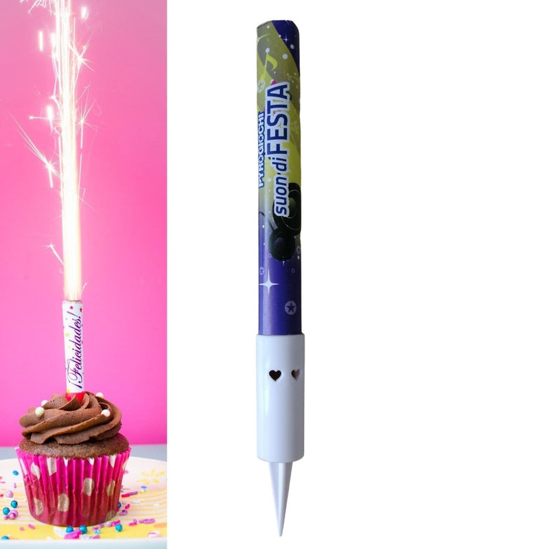 "Birthday Music Ice Fountain Sparklers 6"" Inch Indoor Use (PACK OF 1)"