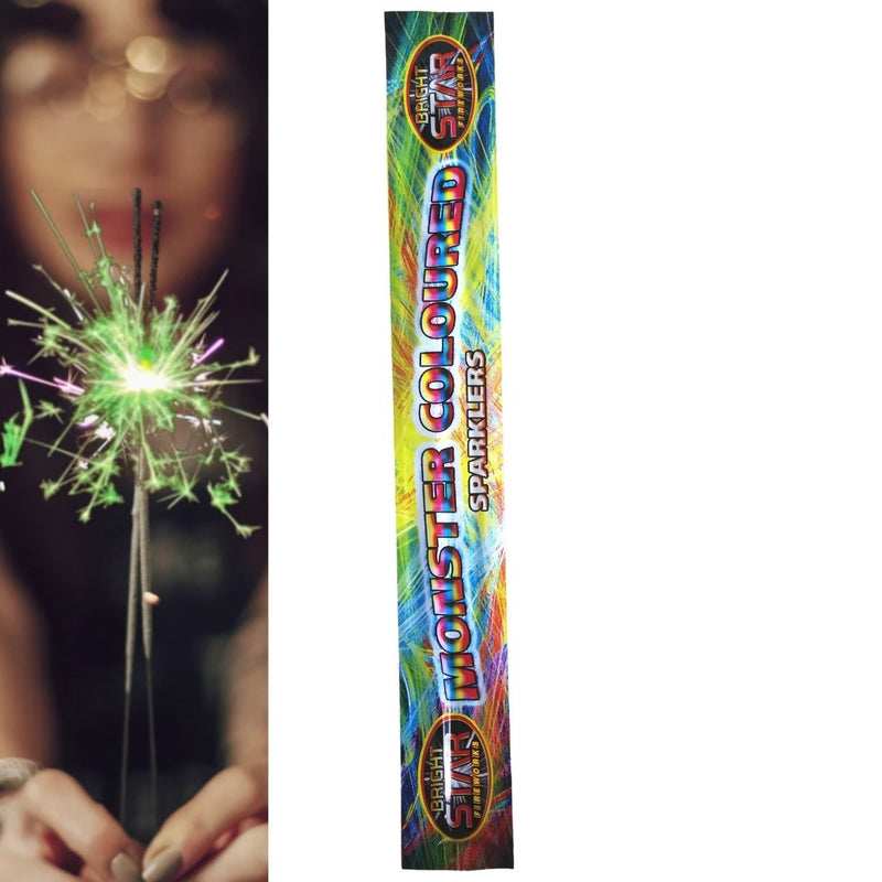 "Pack Of 4 Bright Star – 14"" Inch Coloured Monster Medium Sparklers"