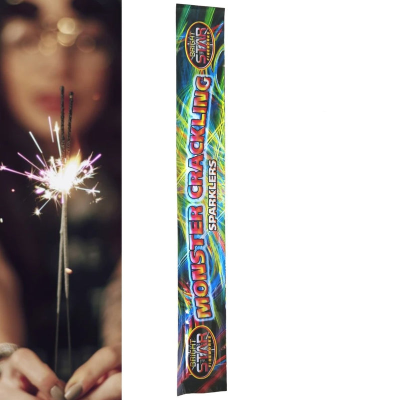 "Pack Of 4 Bright Star – 14"" Inch Crackling Monster Medium Sparklers"