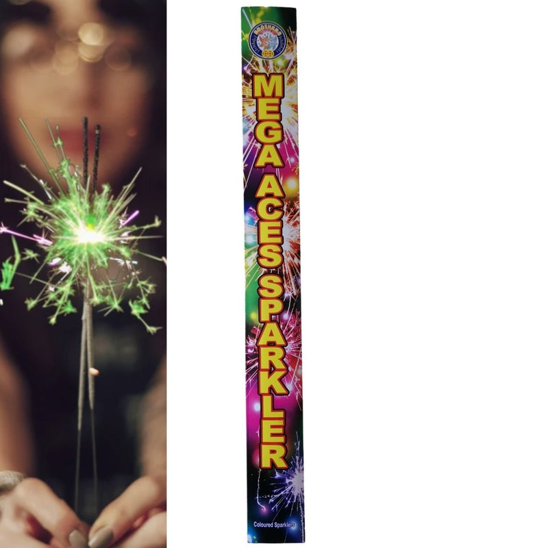 "Pack Of 5 Brothers – 18"" Inch Coloured Mega Aces Big Sparklers"